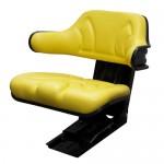 Siège tracteur complet, revêtement en PVC (similicuir jaune), convient pour John Deere