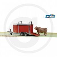 Bruder - Bétaillère 1 vache incluse - Remorque à transport de bétail