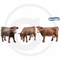 BRUDER - Figurine animaux Vache brune plusieurs positions de tête