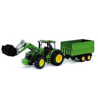 Tracteur John Deere 7930 avec chargeur frontal et remorque