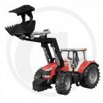 BRUDER - Tracteur MASSEY FERGUSON 7600 avec Fourche - Rouge