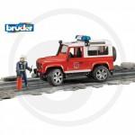 Bruder - Land Rover Defender Station Véhicule de pompiers avec pompier
