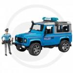 BRUDER - Véhicule de Police LAND ROVER Defender Station avec Policier - Bleu