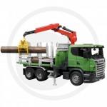 BRUDER - Camion de tranport de bois SCANIA R-Serie vert avec grue et rondins de bois