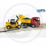 BRUDER - Camion benne MAN TGA rouge avec chargeur articulé FR 130 jaune