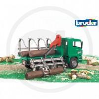 BRUDER - Camion vert MAN porte troncs avec grue et 3 troncs
