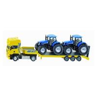 Porte-engins SCANIA avec 2 tracteurs New Holland