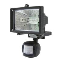 Projecteur halogène 120 W, noir br avec détecteur de mouvements ampoule incluse